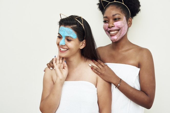 Young beautiful women with beauty masks