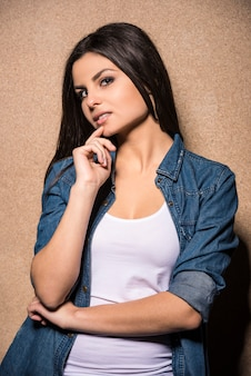 Young beauty brunette girl looking