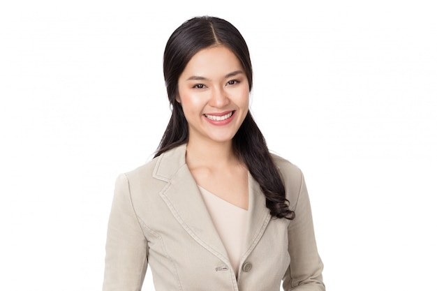 Young beauty healthy happy asian woman with smiley face isolated on white.