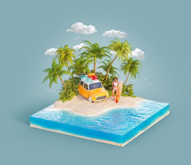 레트로 자동차로 해변에 서있는 서핑 보드와 젊은 아름다움 서퍼 소녀