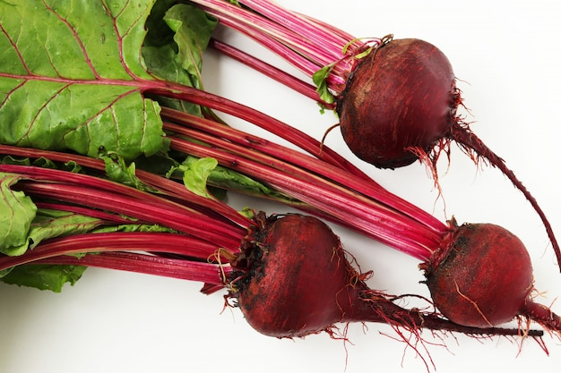 Young beet with a tops is placed on a white background