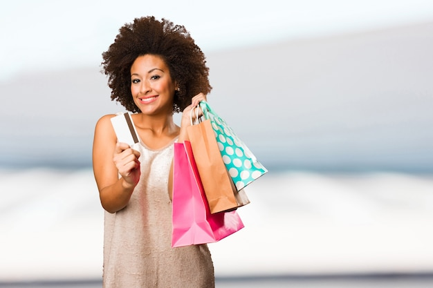 Young black woman going shopping