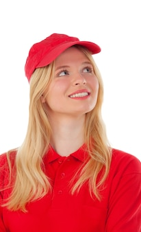 Young blond woman dressed dealer with red uniform
