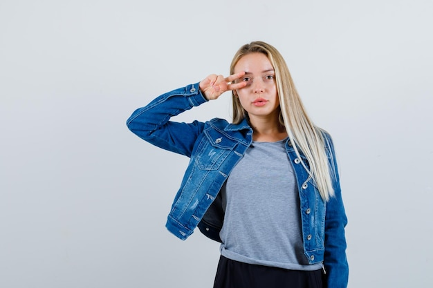Young blonde charming female isolated