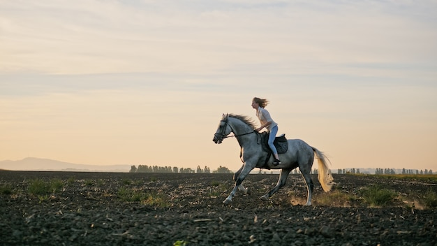 Young blonde girl riding on a horse on the field during sunset