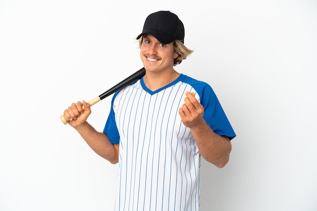 Young blonde man playing baseball isolated