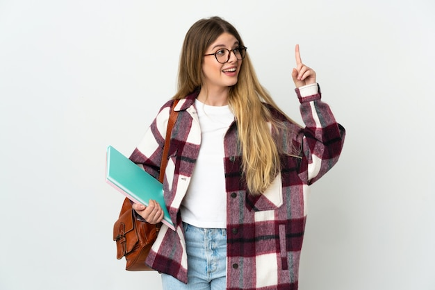 Young blonde student woman isolated on white background intending to realizes the solution while lifting a finger up