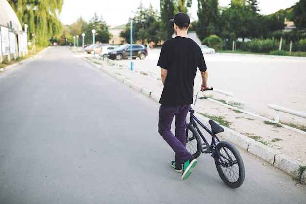 Young bmx bicycle rider