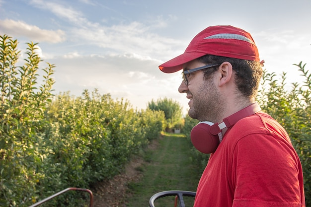 Мальчик в красной рубашке и кепке управляет машиной для сбора яблок во фруктовом саду, слушая