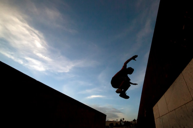 Young boy practicing parkour