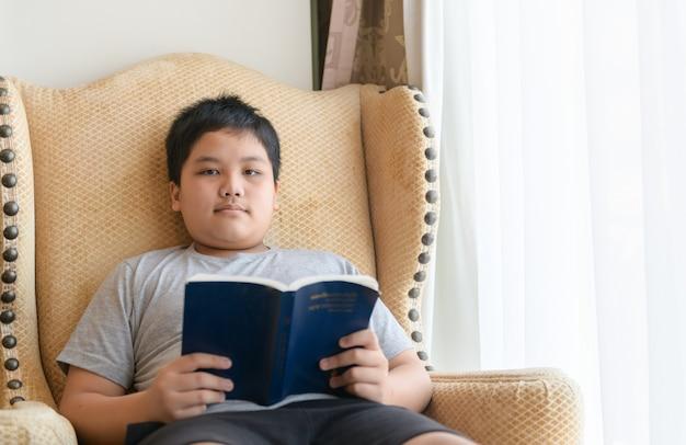 Мальчик читает книгу на стуле у себя дома. концепция образования