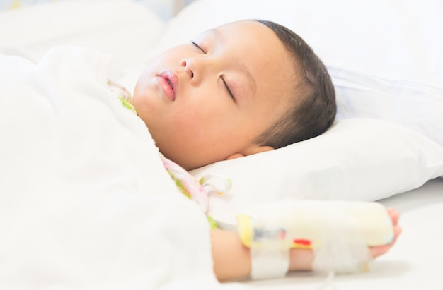 Young boy sleep and sickness stay in hospital