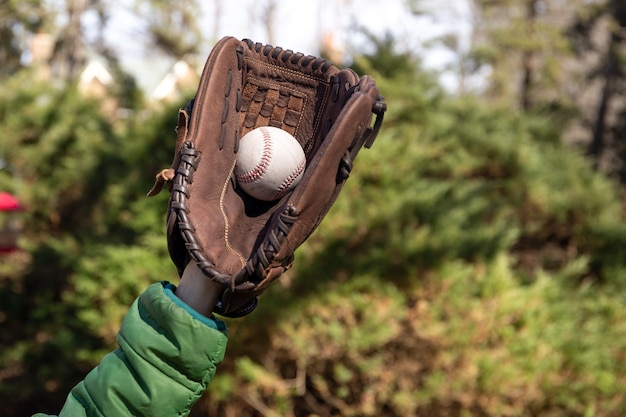 Young boys hand catching baseball ball in garden