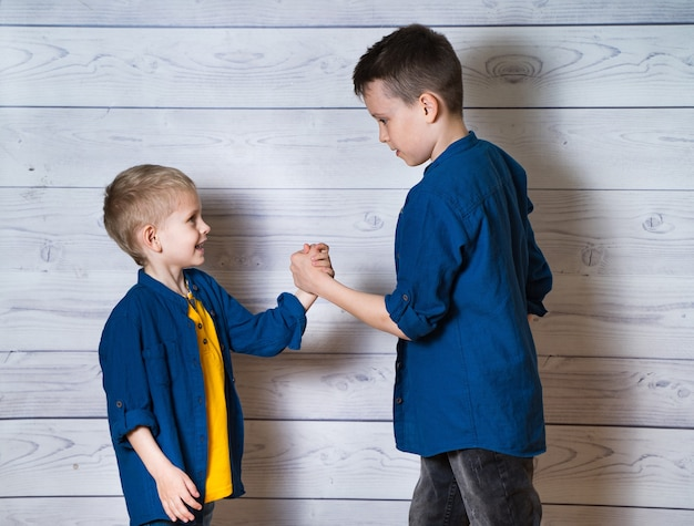 カジュアルな服装の若い兄弟が白い木製で握手