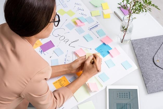 職場での主な目標と作業ポイントで大きな文書を曲げながらメモ用紙にメモをとる若いブルネットの実業家