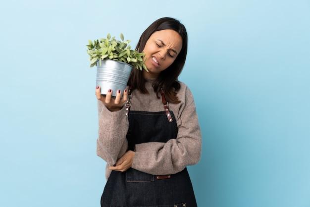 팔꿈치에 통증이 함께 고립 된 파란색 배경 위에 식물을 들고 젊은 갈색 머리 혼혈 여자.