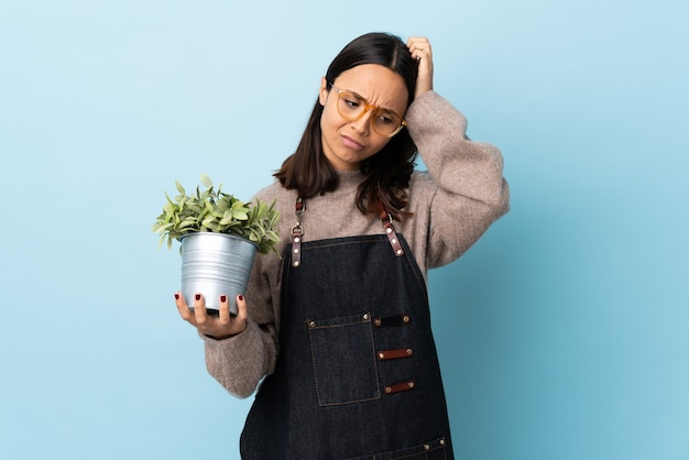 격리 된 파란색 배경 위에 식물을 들고 젊은 갈색 머리 혼혈 여자