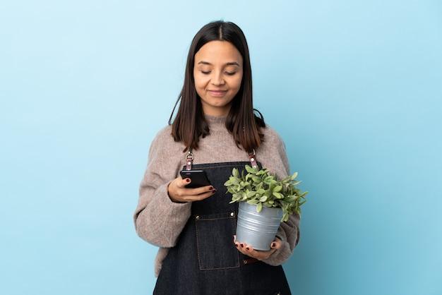 Молодая брюнетка смешанной расы женщина держит растение над синей стеной, отправив сообщение с мобильного телефона