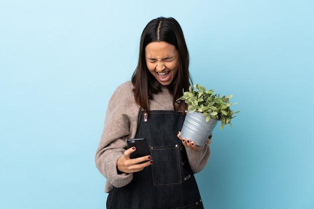 Молодая брюнетка смешанной расы женщина, держащая растение над изолированной синей стеной с телефоном в позиции победы.