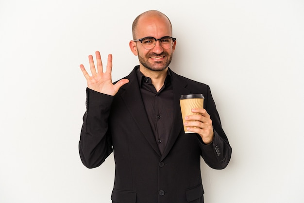Young business bald man holding take away coffee isolated on white background  smiling cheerful showing number five with fingers.