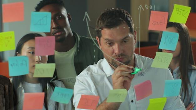 会議室のガラスの壁の同僚に図を描くことによってチームメイトにアイデアを提示する若いビジネスマンは、ビジネスの成功の概念を承認します