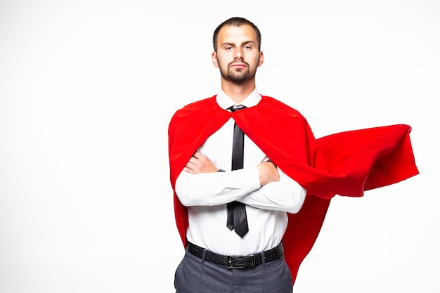 白い背景で隔離の若いビジネスマンスーパーマン
