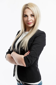 Young business woman in a black jacket. beautiful blonde.