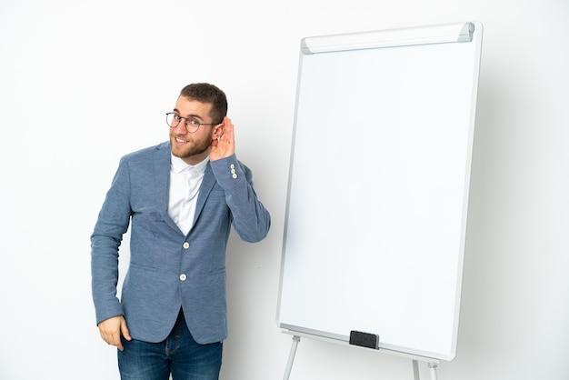 귀에 손을 넣어 뭔가를 듣고 흰 벽에 고립 된 화이트 보드에 프레젠테이션을 젊은 비즈니스 우먼