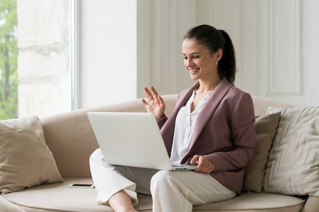 Young business woman having a video call