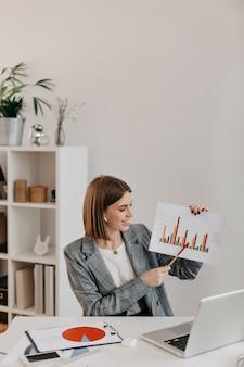 Молодая деловая женщина в белом офисе с улыбкой показывает графику, разговаривая с клиентами по skype.