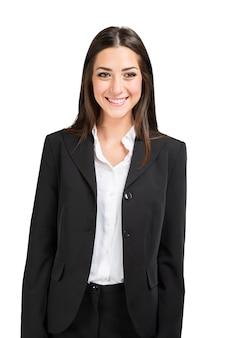 白で隔離の若いビジネス女性