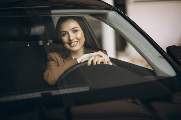 Young business woman sitting in car