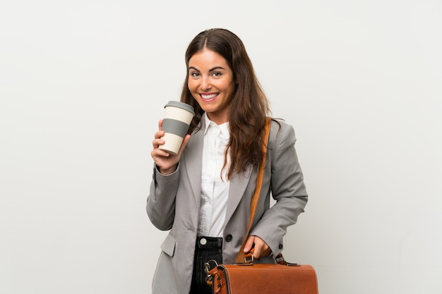 Young business woman white
