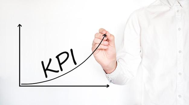 Молодой бизнесмен, рисующий концепцию схемы процесса kpi.