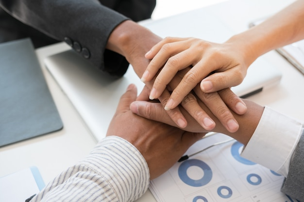 Group Businessman Team Touching Hands Together Stock Photo ... |Touching Hands Together