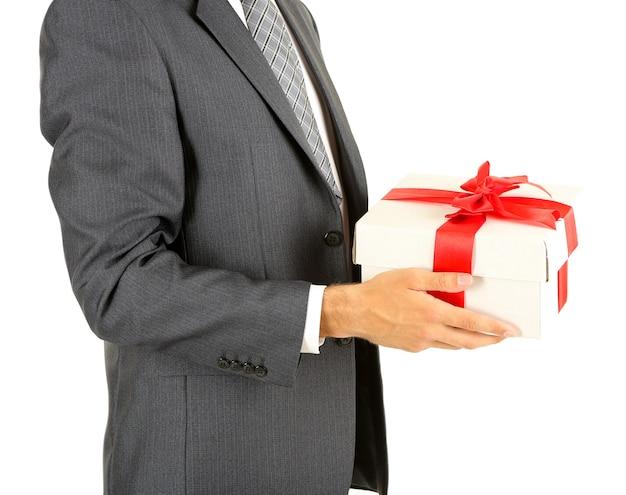 젊은 사업가 선물 선물 상자, 흰색 절연