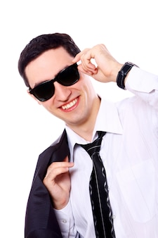 Young businessman in sunglasses