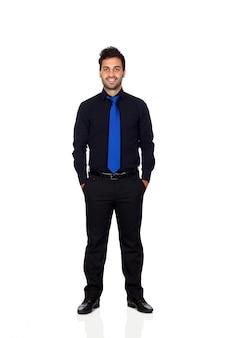 흰색 배경에 고립 된 파란색 넥타이와 젊은 사업가