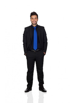 Young businessman with blue tie isolated on white background