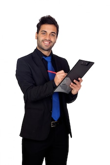 Young businessman with a clipboard isolated on white background