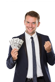 Young businessman with dollar on his hands