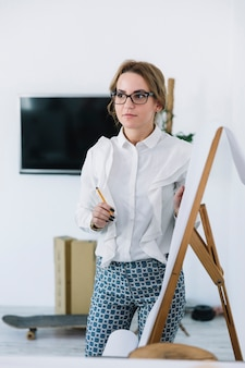 Young businesswoman holding pencil explaining new business plan