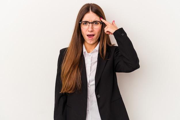 人差し指で失望のジェスチャーを示す白い背景で隔離の若い白人ビジネス女性。