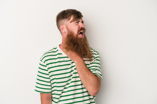 Young caucasian ginger man with long beard isolated on white background touching back of head, thinking and making a choice.