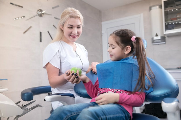 Young caucasian girl with healthy teeth and happy smile visiting dentist's office for prevention of oral cavity. child and doctor while checkup. healthy lifestyle, healthcare and medicine concept.