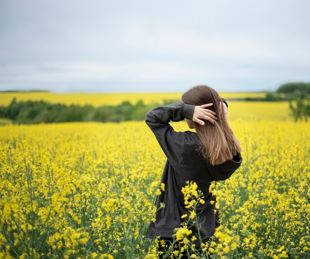 Young caucasian  girl on yellow rapeseed field