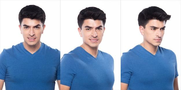 空の領域の若い白人男性空白の青いtシャツジーンズは立って幸せな笑顔を感じて腕の手をポーズします強い、白い背景が分離された、肖像画のコラージュグループの概念