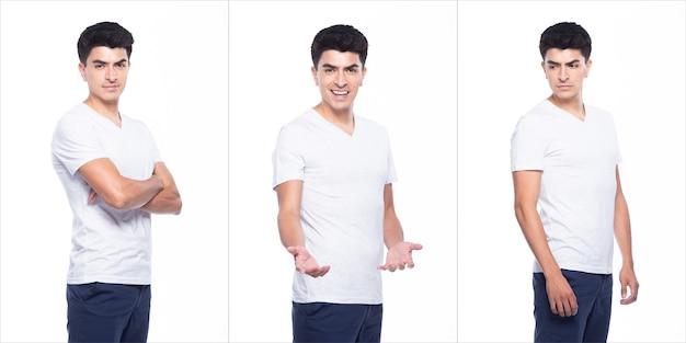 空の領域の若い白人男性空白の白いtシャツジーンズは立って幸せな笑顔を感じて腕の手をポーズします強い、白い背景が分離された、肖像画のコラージュグループの概念