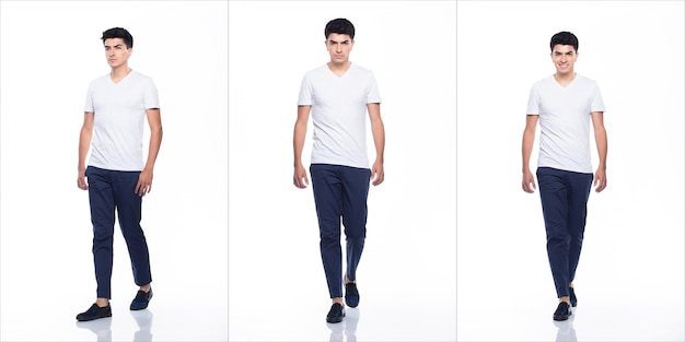 空の領域の若い白人男性空白の白いtシャツジーンズは立って、幸せな笑顔を感じながら頭を回して歩く強い、白い背景が分離された、完全な長さのコラージュグループの概念