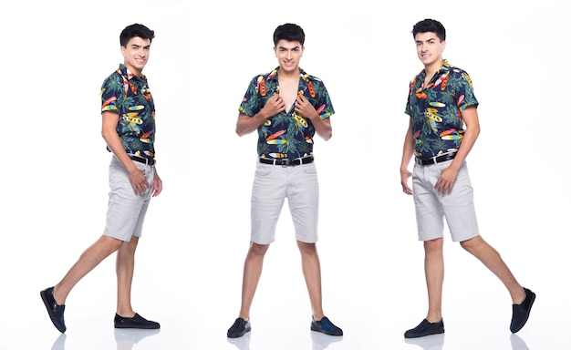 夏の若い白人男性トロピカルプリントポロシャツ白いショートスタンドと幸せな笑顔と強い、白い背景が分離された、フルレングスのコラージュグループのコンセプトを感じて多くのアクションで歩く